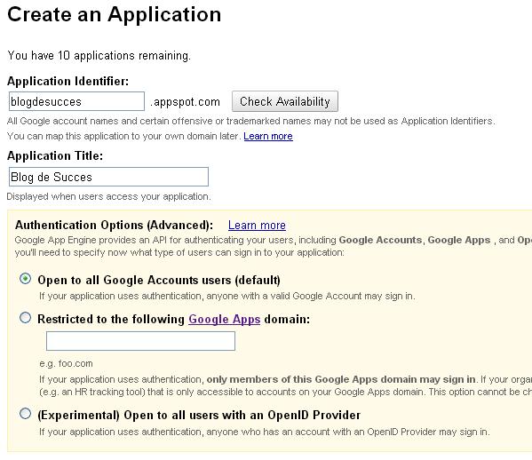 Creaza aplicatie Google Apps