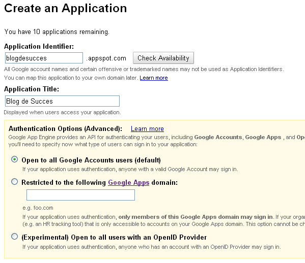 Creaza aplicatie Google Apps
