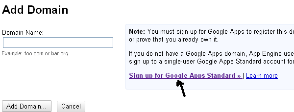 Adauga domeniu google apps
